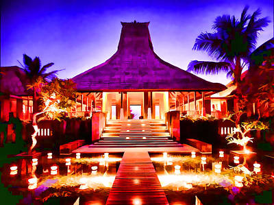 Italian Night Life Painting - Maya Ubud Resort And Spa by Lanjee Chee