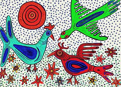 Abstract Flowers Drawings - Mayan Birds 2   by Sarah Loft