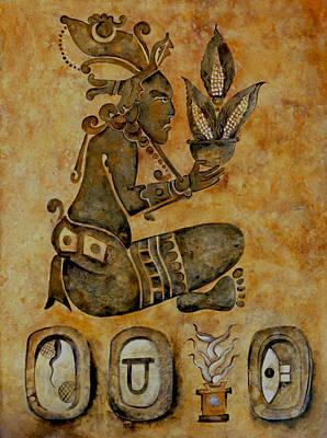 Mayan Corn God Art Print by Mary jane Miller