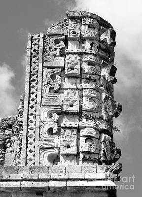 Photograph - Mayan Glyphs At Uxmal Mexico Black And White by Shawn O'Brien