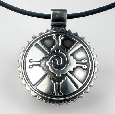 Esprit Mystique Art Jewelry - Mayan Hunab Ku Shaman Tribal Sterlng Silver Pendant by Virginia Vivier