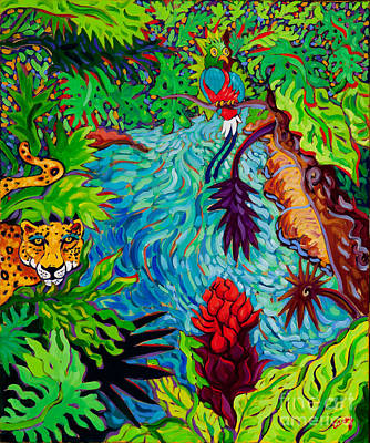 Mayan Painting - Mayan Jungle by Cathy Carey