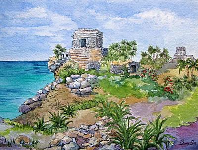 Maya Painting - Mayan Ruins At Tulum by Bonnie Sue Schwartz
