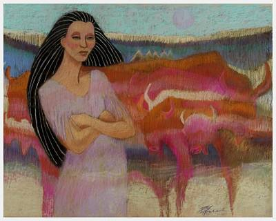 Mayan Tending Her Cattle In Tulum Art Print