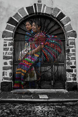 Double Layer Digital Art - Mayans And Door - Guatemala by Totto Ponce