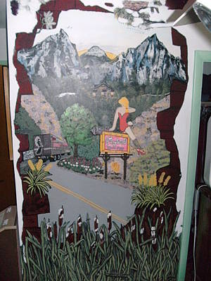 Mural Mixed Media - Maybells Truck Stop by Becky Jenney