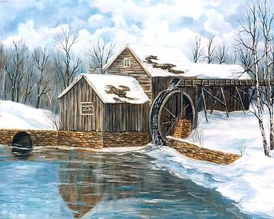 Old Mill Scenes Painting - Maybry Mill by Marveta Foutch