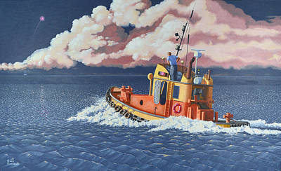 Tugboat Wall Art - Painting - Mayday- I Require A Tug by Gary Giacomelli