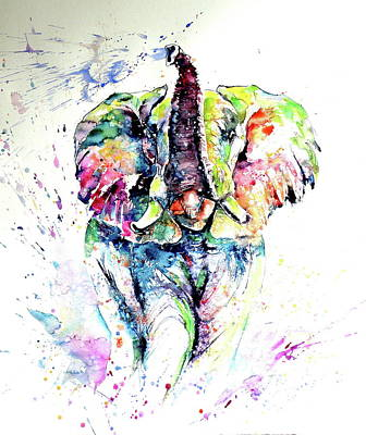 Painting - Mayestic Colorful Elephant Playing Light by Kovacs Anna Brigitta