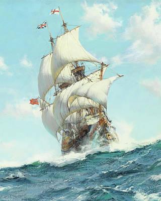 Ship Captain Painting - Mayflower II - Detail by Montague DawsonMayflower II