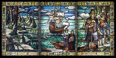 Photograph - Mayflower Pilgrims In Stained Glass by John Haldane