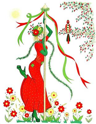 Ribbon Drawing - Maypole Scarecrow by Sandra Moore