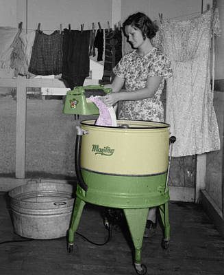Vintage Laundry Photograph - Maytag Woman by Andrew Fare