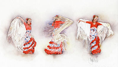 Painting - Mayte Beltran Dancing The Flamenco With Shawl by Margaret Merry