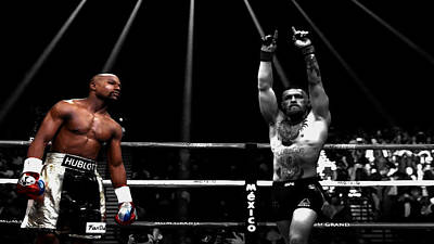 Mixed Media - Mayweather And Mcgregor 1c by Brian Reaves