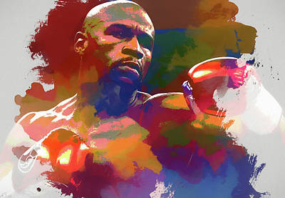Floyd Mayweather Jr Painting - Mayweather Watercolor by Dan Sproul