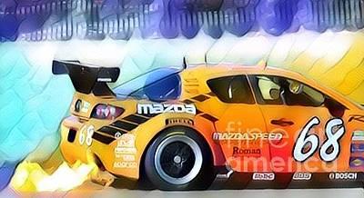 Drag Racing Mixed Media - Mazda Flames by Douglas Sacha