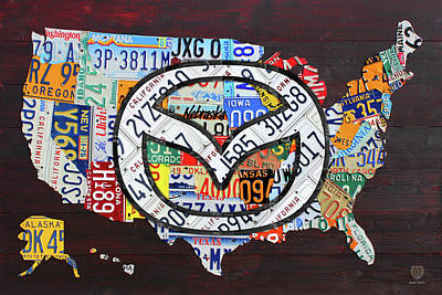 Mazda License Plate Map Of The Usa Art Print by Design Turnpike