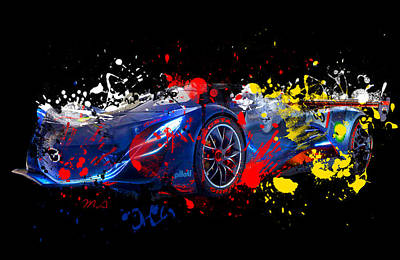 Abstract Digital Painting - Mazda by Mark Ashkenazi