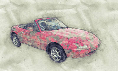 Mixed Media - Mazda Mx-5 Miata 1 - Mazda Roadster - Automotive Art - Car Posters by Studio Grafiikka