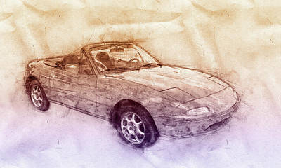 Mixed Media - Mazda Mx-5 Miata 2 - Mazda Roadster - Automotive Art - Car Posters by Studio Grafiikka