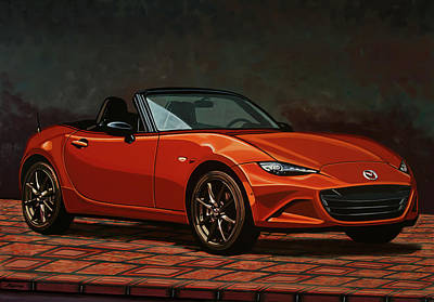 Classical Realism Painting - Mazda Mx-5 Miata 2015 Painting by Paul Meijering