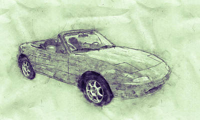Mixed Media - Mazda Mx-5 Miata 3 - Mazda Roadster - Automotive Art - Car Posters by Studio Grafiikka