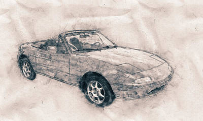 Mixed Media - Mazda Mx-5 Miata - Mazda Roadster - Automotive Art - Car Posters by Studio Grafiikka