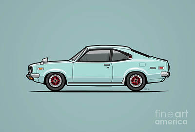 Ssr Digital Art - Mazda Savanna Gt Rx-3 Baby Blue by Monkey Crisis On Mars