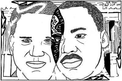 Frimer Drawing - Maze Cartoon Of Mlk And Glenn Beck At Lincoln Memorial by Yonatan Frimer Maze Artist