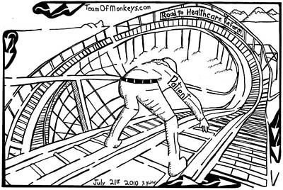 Maze Cartoon Of Patient On The Rollercoaster Of Healthcare Reform By Yonatan Frimer Original by Yonatan Frimer Maze Artist