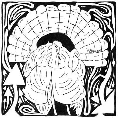 Yonatan Drawing - Maze Giving Turkey  by Yonatan Frimer Maze Artist