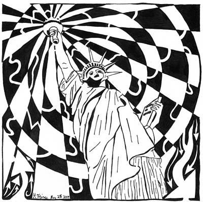 Maze Of Liberty By Yonatan Frimer Art Print by Yonatan Frimer Maze Artist