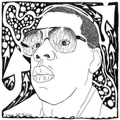 Yonatan Drawing - Maze Portrait Of Jay-z by Yonatan Frimer Maze Artist