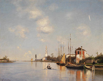 Lighthouse And Sailboat Painting - Mazzorbo Near Venice by Ascan Lutteroth
