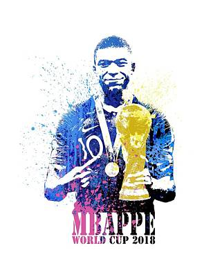 Sergio Ramos Wall Art - Painting - Mbappe And World Cup 2018 #france by Art Popop