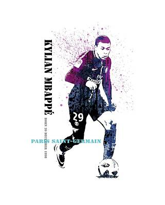 Sergio Ramos Wall Art - Painting - Mbappe #france #psg by Art Popop