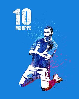 Sergio Ramos Wall Art - Painting - Mbappe On Blue by Art Popop