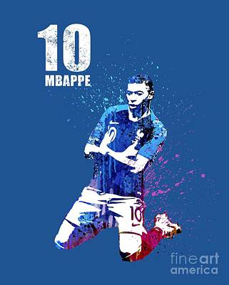 Sergio Ramos Wall Art - Painting - Mbappe On Blue#2 #world Cup 2018 #france by Art Popop
