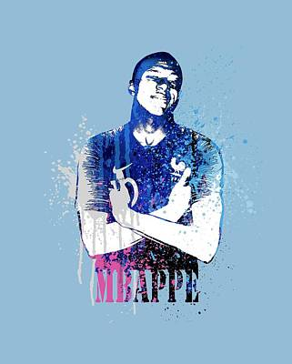 Sergio Ramos Wall Art - Painting - Mbappe #on Light Blue #world Cup 2018 #france by Art Popop