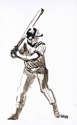 Mbl Drawing - Mbl Batter Up by Seth Weaver