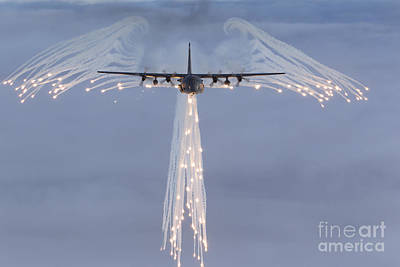 Infrared Photograph - Mc-130h Combat Talon Dropping Flares by Gert Kromhout