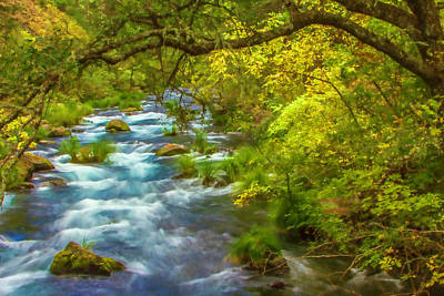 Digital Art - Mcarthur-burney Falls Creek Painterly by Bill Gallagher