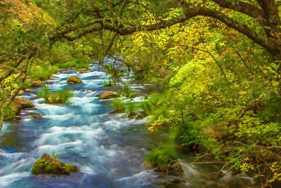 Digital Art - Mcarthur-burney Falls Creek Painterly by Bill Gallagher