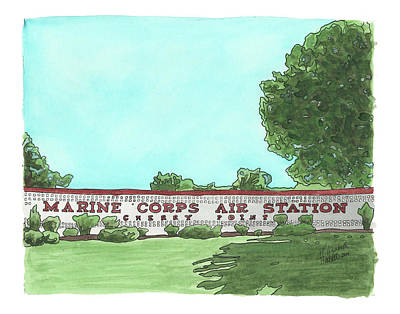 Military Base Painting - Mcas Cherry Point Welcome by Elizabeth Hackett