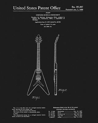 Drawing - Mccarty Gibson Guitar Patent by Dan Sproul