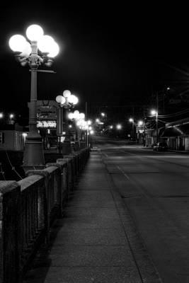 Mccaysville Bridge At Night In Black And White Art Print by Greg Mimbs