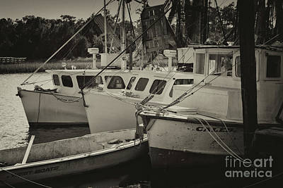 Photograph - Mccellanville Shrimp Boats In Sepia by Dale Powell