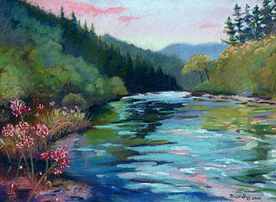 Painting - Mccloud River Sunset by Janet Biondi