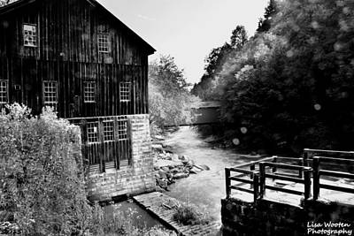 Photograph - Mcconnells Mill Black And White by Lisa Wooten